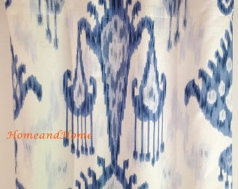 SALE Ikat Curtains 50W One pair Indigo blue drapery panels designer window curtains Blue drapery, custom panels, custom drapery