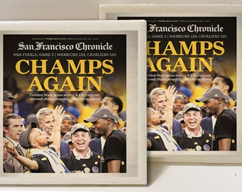 Golden State Warriors 2017 Champions Set of 2 Ceramic Tile Coasters