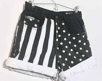 Split Personality // 80's grunge duo patterned high waisted Denim shorts