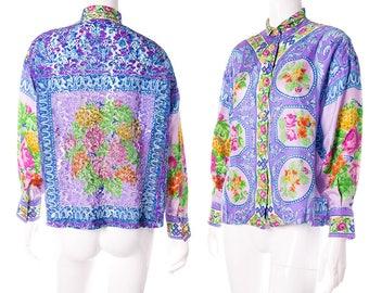 Vintage Gianni Versace Rare Silk Floral Lace Cutwork Baroque Shirt