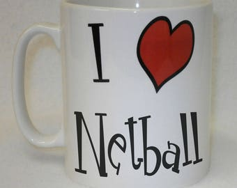 I Love Heart Netball Mug Can Be Personalised Great Sports Fan Team Player Gift