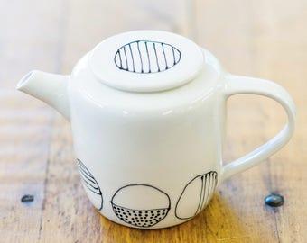 Dot Porcelain Teapot • Modern •  Simple • Black and White •  Black White and Red • Wedding Anniversary Gift Tea Handmade Fine Art & Craft