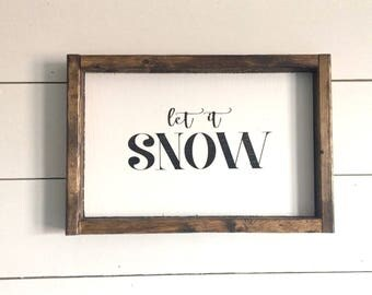 Let it Snow wood sign, let it snow Christmas sign, Christmas decor, Christmas sign