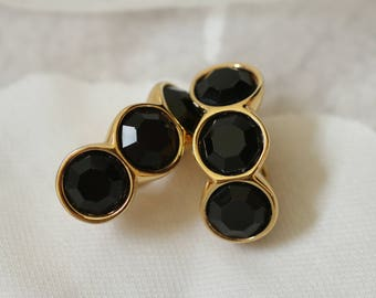 Gorgeous Vintage Black Swarovski Clip On Earrings