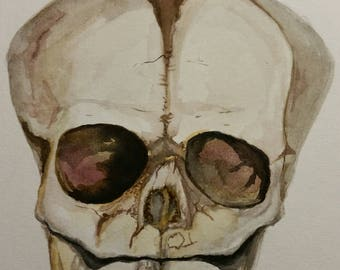 Infant Skull Watercolor