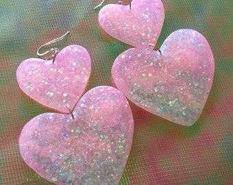 Large Sweet Heart Earrings - Pastel Pink & Iridecent White