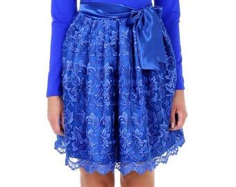 Royal Blue  Mini Women's Dress  Round Neckline Long Sleeves