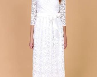 White Lace Ball  Wedding Maxi Dress Wrap Neckline 3/4 Sleeves