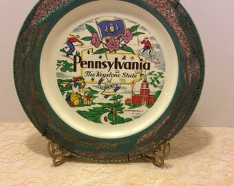 Vintage Souvenir Plate Pennsylvania Homer Laughlin USA Shabby Chic Country Kitchen Decor, Collectible Wall Plate