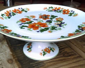"""DOLPHIN JAPAN Fine China Cake Stand Pedestal ~ """"Olympus"""" Floral Pattern"""