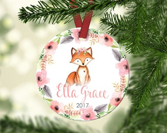Girl's Christmas ornament.Baby Fox..Christmas ornament.Personalized christmas ornament.Baby's first Christmas.