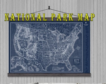 Us National Park Map Etsy - 40x60 us maps