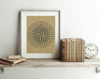 Compass Print - Burlap Print - Compass Rose Wall Decor - Nautical Print - Nautical Wall Decor - Nautical Decor - Vintage Compass Print