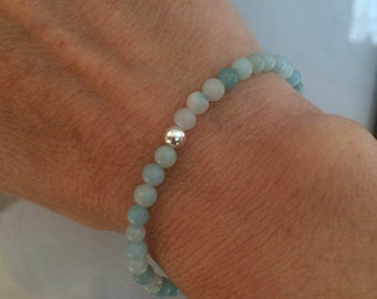 Amazonite stretch Bracelet Sterling Silver small green gemstone bead Bracelet 4mm tiny beaded bracelet CHAKRA small healing jewellery gift