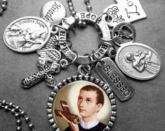 Infertility Fertility Patron St. Gerard Picture Pendant Multi Charm Necklace, Catholic Jewelry Gift, Expectant Mothers, Pregnancy Childbirth