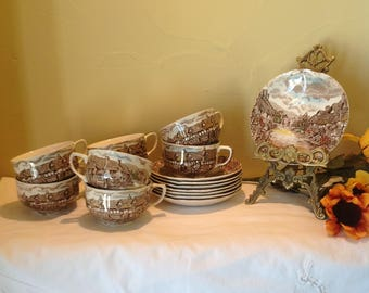 Johnson Brothers, Olde English Countryside, Eight Cups and Saucers