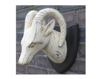 Aries head, hand-carved, wood, deerhead, curved horns, handpainted