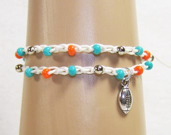 Miami Dolphins Inspired Bracelet, Football Bracelet, Football Jewelry, Free Shipping in US