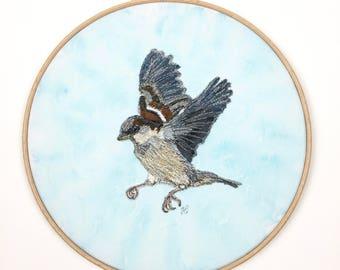 Textile bird portrait - Sparrow hoop art