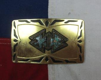 Vintage 1980's Turquoise Patterned Belt Buckle Brass Western Wear South West Geometric
