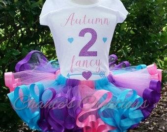 2 Fancy tutu set; pink, purple, turquoise