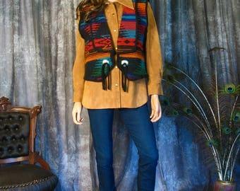Vintage 1990s Woolrich Vest / Navajo Rug Pattern Print / Size Large
