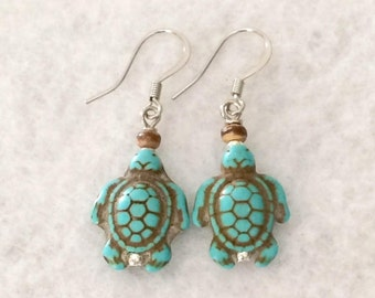 Turtle Earrings Turquoise Turtle Bead Earrings Turquoise Statement Dangle Earrings Sea Turtle Ocean Beach Earrings Daughter Gift For Her
