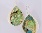 porcelain and gold drop earrings in soft blue greens with unique gold lustre detailing..... mermaid vibes