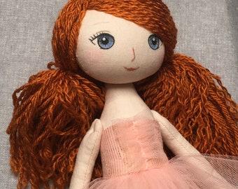 """Auburn haired 14"""" Handmade cloth doll, rag doll, fabric doll, heirloom doll, soft doll, nursery decor, gift for girl"""