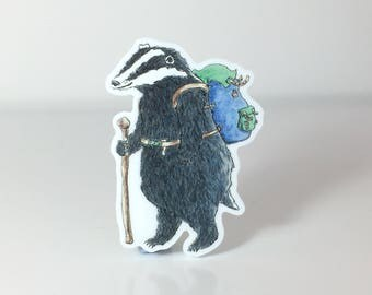 Back Packing Badger Acrylic Brooch