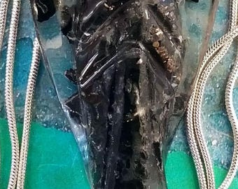 Powerful Large ORGONE Black Tourmaline, CRYSTAL Guardian ANGEL With Copper Coil and Silver Chain, Optional Bracelet, Orgonite, Reiki Healing