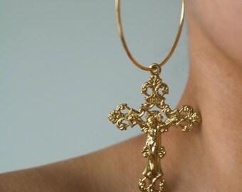 Take Me Out Hoop Earrings - Gold Earrings - Hoop Earrings - Dangle Earrings - Cross Earrings - Large Hoop Earrings - Large Cross