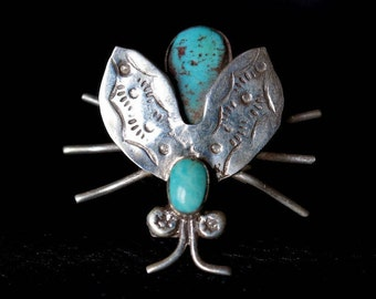 Navajo Bug Ring Sterling Silver with Turquoise
