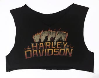 Vintage Harley Davidson Aces on Fire V Neck Crop Top