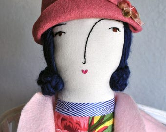 """Doll Hat, doll accessory, handmade, handmade doll hat, pink, """"Rose Pink Hat with vintage flowers"""""""