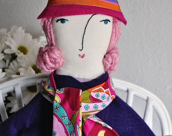 Doll accessory, doll hat, doll clothes, handmade, felt, doll hat and scarf set, pink, purple, hat and scarf set