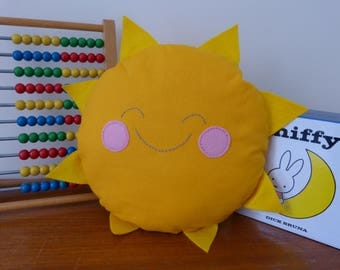 Smiley Sunshine Cushion Plushy Sun Rays Rosy Cheeks Sweet Smile Cute Face Child Children's Room Decoration Yellow Gift Present Jude & Rose