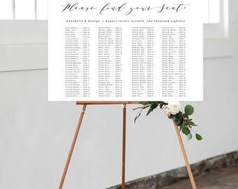 Printable Wedding Seating Chart, Calligraphy Seating Chart, Digital File, Rustic Wedding Seat Assignments, Wedding Seating Chart