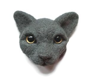 Felt cat brooch Summer outdoors jewelry British Shorthair Cat portrait Personalized cat art crazy cat lady rescue mom gift