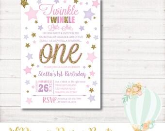 Twinkle Twinkle Little Star, Birthday Invitation, First Birthday, Pink, Gold, Glitter, Photo, violet, Printable, Digital, 1st Birthday, Star