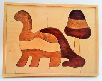 Hand-Made Wooden Dinosaur Puzzle