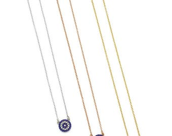 dainty small round evil eye necklace, black or blue with white zircons, varioius finishes, 925 sterling silver