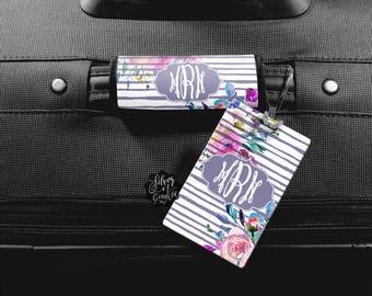 Monogram Luggage Tag, Luggage Tag, Personalized Luggage Tag, Custom Luggage, Personalized Bag Tag, Luggage Wrap, Floral Luggage Tag, ID Tag