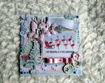 New year card, greeting, handmade, 3D, shabby, flamingos, Christmas card.