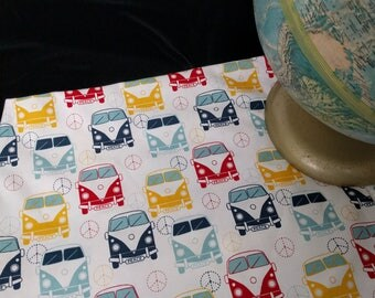 VW Bus Fabric, Volkswagen Fabric by Yard, Minibus Vanagon Love Peace License Plate, Cheerful Tomato Red, Daffodil Yellow, Navy Sky Blue