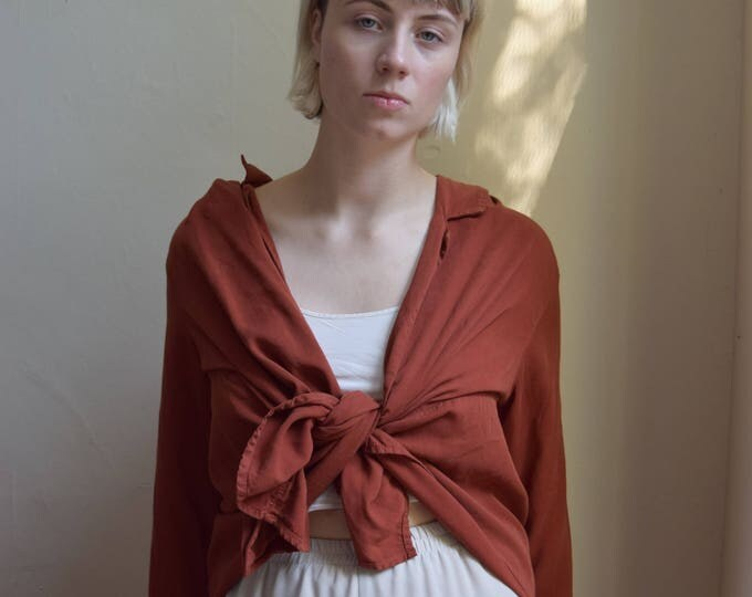 Terracotta Longsleeve Wrap/Cardigan  |  Pick Your Print