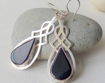 Sterling Silver Tear Drop Onyx Earrings, Black Onyx  Statement Earrings, Dangle Onyx, Modern Gemstone Earrings, Genuine Retro Black Jewelry