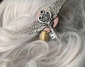 Wedding Hair Stick w/ Wings - Steampunk Hair Accessories - Key Hair Pin - Wedding Hair Accessories - Hair Accessories for Wedding Hair Stick