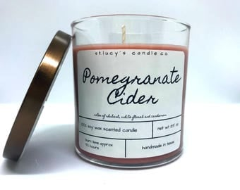 Pomegranate Cider Soy Scented Candle | Christmas Candle | Winter Candle | Fall Candle | Gift for Her | Fall entertaining and decor