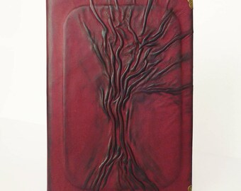 Leather Journal, A5 Diary, Burgundy Notebook, Family Memories, Birthday Gift under 100, for Mom, Daughter, Girlfriend, Sister, Tree of life